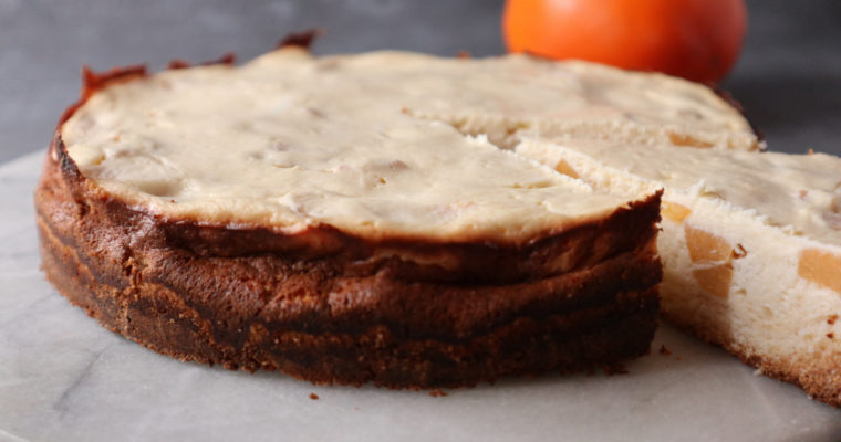 Quark-Kuchen mit Kaki