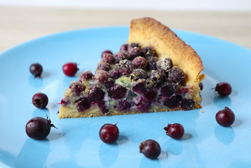 Ihr habt auch Felsenbirnen im Garten? Dann backt doch mal eine glutenfreie Felsenbirnen-Tarte! Sie ist zudem histamin- und fructosearm und laktosefrei.