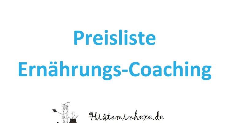 Preisliste Coaching
