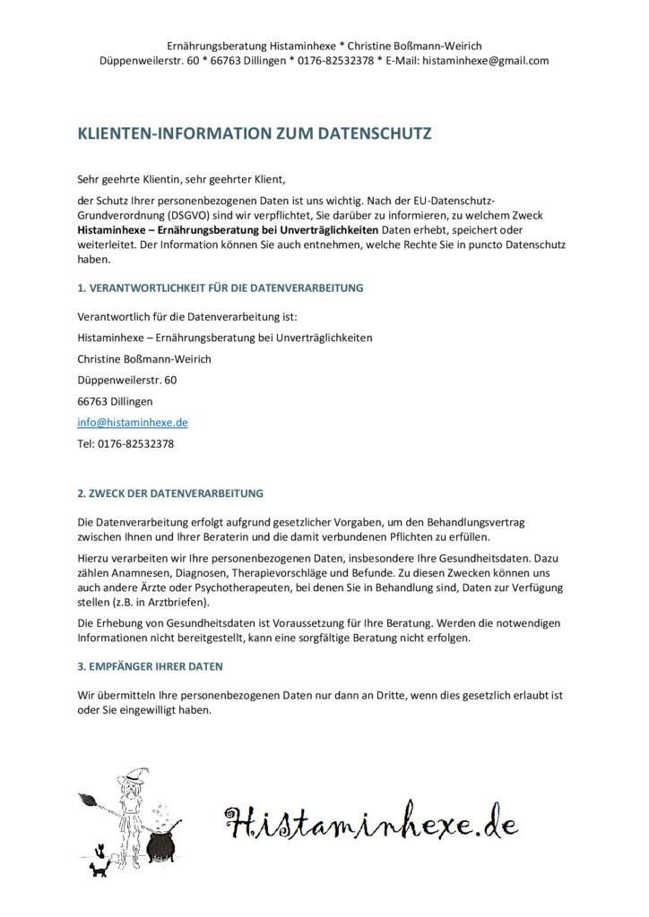 Hier findet ihr die Datenschutzerklärung von Histaminhexe - Ernährungsberatung bei Unverträglichkeiten.